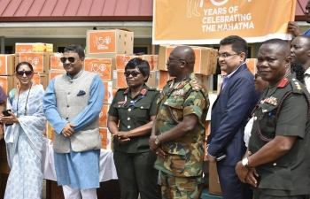 "High Commission of India in Accra presented a gift of Water tank to the 37 Military Hospital, Accra on the occasion of launch of 150th Birth Anniversary of Mahatma Gandhi on 2nd October 2018. The High Commission also gifted medicines to the Maternity Ward, which is named as ""Gandhi Ward"" at the 37 Military Hospital."