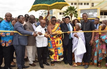 Official launch of the Volta Trade Investment and Cultural Fair 2019 organized by the Volta/OTI Regional Coordinating Councils. The event was inaugurated by Hon'ble Regional Minister and Chairman of Planning Commission of Ghana Dr. Archibald Yao Letsa and H.E. Birender Singh, High Commissioner of India at Ho Technical University on 11th April, 2019. High Commissioner of India presented a set of books to Ho Technical University.
