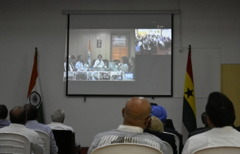 Interaction by Hon'ble Commerce & Industry Minister, Shri Suresh Prabhu and his team with the Indian Diaspora and Indian businessmen through Video Conference on 06th May, 2019 in High Commission of India, Accra. Suggestions for improving commercial relations between India and Ghana were made by H.E. High Commissioner of India and Indian businessmen in Ghana.