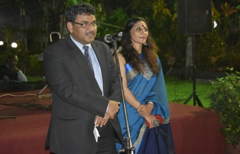 Reception hosted by H.E. Birender Singh Yadav, High Commissioner of India to Ghana and Mrs. Richa Rao in honour of visiting National Defence College delegation on 20th May, 2019. 59th NDC course participants visiting Ghana are led by Air Vice Marshal Bakul Vaikunthrai Upadhyay and include officers from friendly countries of Bhutan, Brazil, Egypt and Nepal enjoyed. Lt. Gen. O.B. Akwa, Chief of Defence Staff, Ghana Armed Forces also graced the reception which included patriotic performance by children from Indian Community (Maharashtra Mandal Ghana).