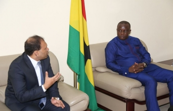HIGH COMMISSIONER SUGANDH RAJARAM CALLED ON THE MINISTER OF DEFENCE OF GHANA, HON'BLE DOMINIC NITIWUL.