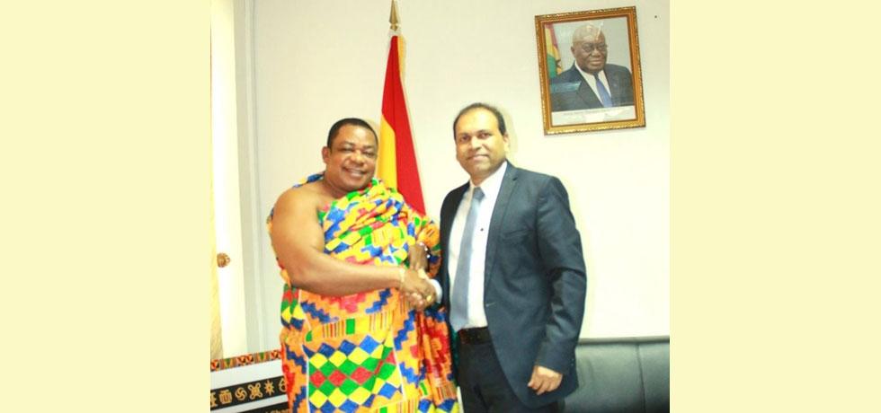 High Commissioner Sugandh Rajaram met Nana (Dr) Appiagyei Dankawoso I, President, Ghana National Chamber of Commerce, Accra.