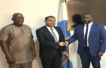High Commissioner Sugandh Rajaram signed Agreement on Visa Waiver for Diplomatic & Official Passports Holders with Sierra Leone Interior Minister Edward Soloku and also met Deputy Foreign Minister Soloman Jamiru