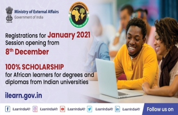 Commencement of enrolment in Graduate, Diploma and Certificate Programmes for students of Africa from 8th December 2020 under e-VidyaBharti and e-ArogyaBharti (e-VBAB) Project'.