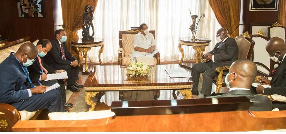 Hon'ble Shri V Muraleedharan, Minister of State for External Affairs, calls on H.E. Nana Addo Dankwa Akufo-Addo, President of the Republic of Ghana in Ghana