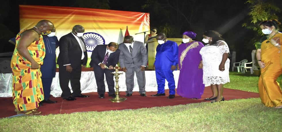 High Commissioner launched India@75 #AmritMahotsav at India House in Accra with Ghana Parliament Speaker, Chief Justice, Ministers of National Security, Parliamentary Affairs, Foreign Affairs, Water & Sanitation, Tourism & Culture & others