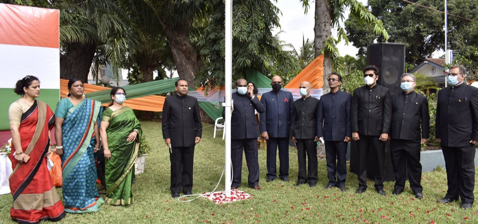 High Commissioner, H.E. Mr. Sugandh Rajaram, hoisting the National Flag on India's 75th Independence Day #AmritMahotsav