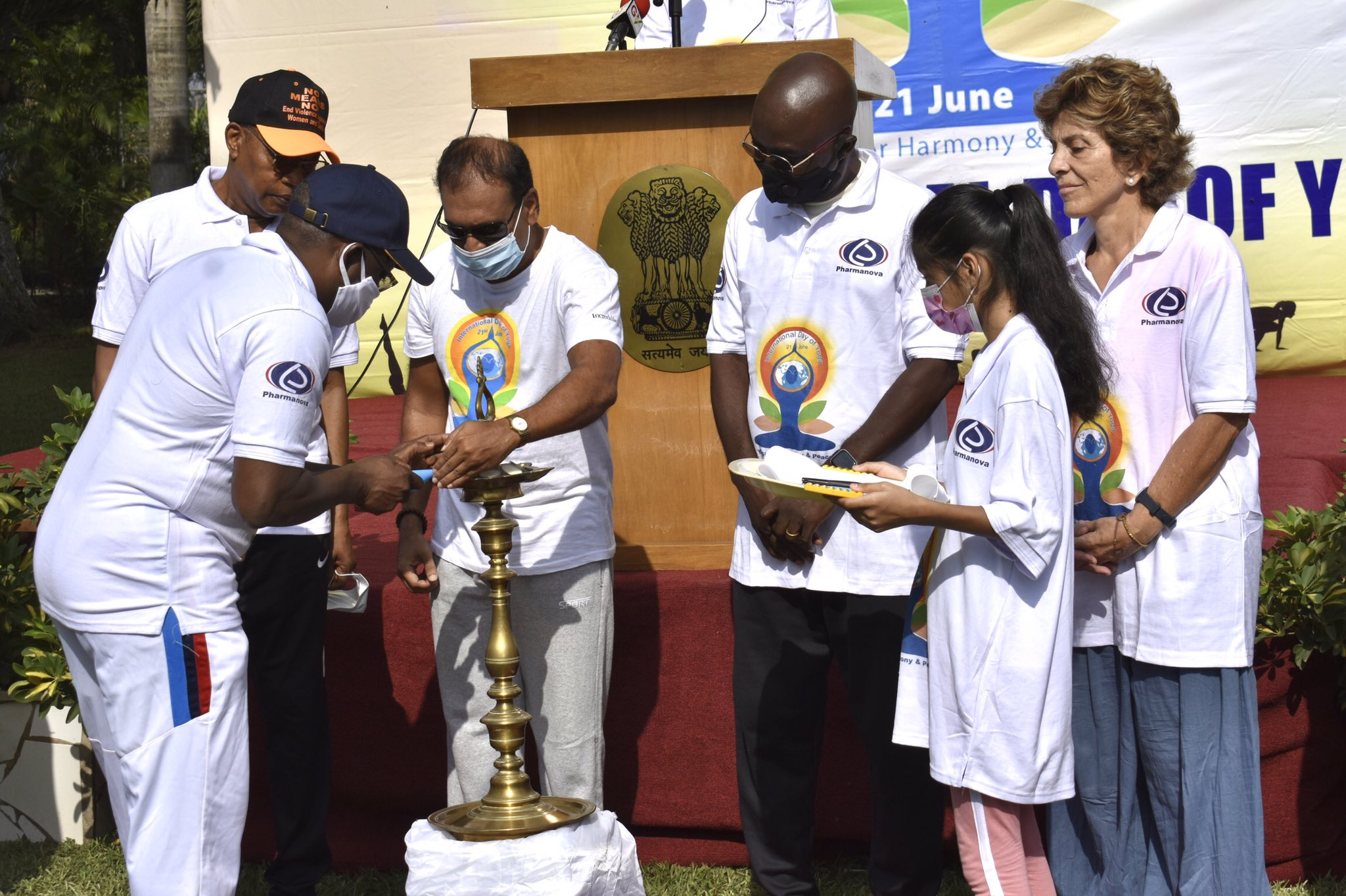 7th International Day Of Yoga at India House in Accra was inaugurated with traditional lamp lighting by former UNOWAS Head, Naval Chief, UN Country Representatative, Dean of Diplomatic Corps & Indian Association President with High Commissioner